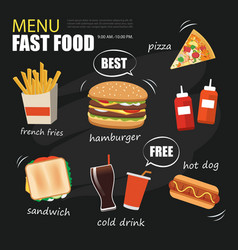 fast food menu on chalkboard background vector image