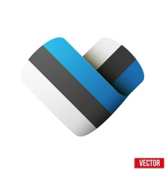 Flag icon in the form of heart I love Estonia vector image vector image
