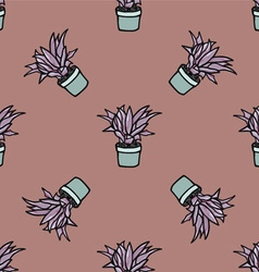 Flower in a pot seamless pattern vector image
