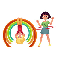 Girls playing with hula hoop and hanging on monkey vector