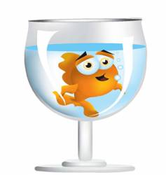 goldfish in wine glass vector image vector image