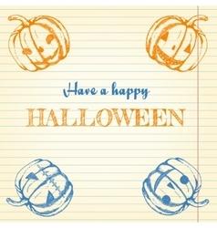 Halloween doodle - pumpkins vector image