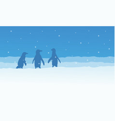landscape penguin on snow silhouettes vector image vector image