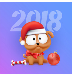 little dog puppy 2018 symbol vector image vector image