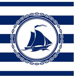 Marine emblem with an yacht vector