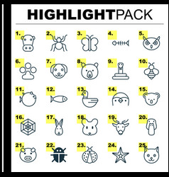 Nature icons set collection of night fowl puppy vector