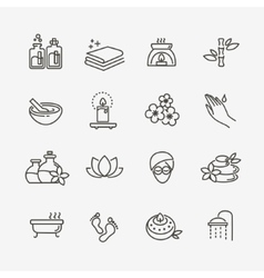 Outline web icon set - Spa and Beauty vector image vector image