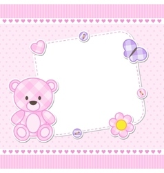 Pink teddy bear card vector image