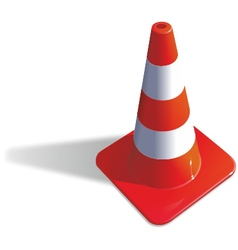 Red-orange 3d ikon of traffic cone vector