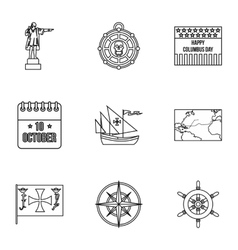 Search of mainland icons set outline style vector