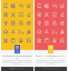 Set icons theme of education and learning vector