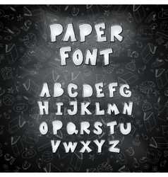 Set of cut out paper letters on the chalkboard vector image
