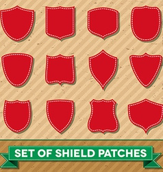 Set of shield shaped stitched patches vector