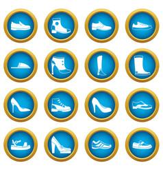 shoe icons blue circle set vector image