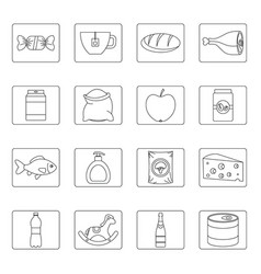 Shop navigation foods icons set outline style vector