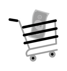 Shopping cart online bill money gray color vector