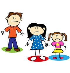 Stick figure unhappy family vector