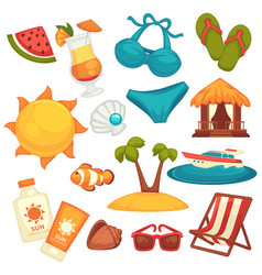 Summer holiday equipments and clothes poster on vector