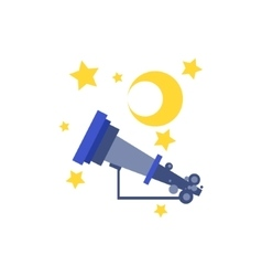 Telescope Stars And Moon vector image vector image