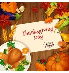 Thanksgiving turkey dinner invitation card vector