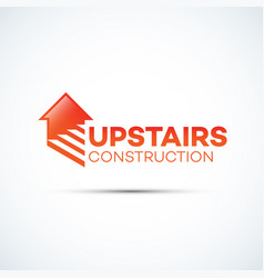 Upstairs construction logo vector