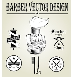 Vintage hand drawn logo of barber shop vector image vector image
