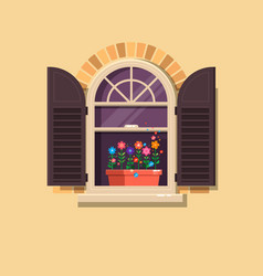 window with brown shutters and flower pots vector image vector image