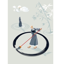 Zen monk painting a circle vector