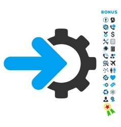 Integration flat icon with bonus vector