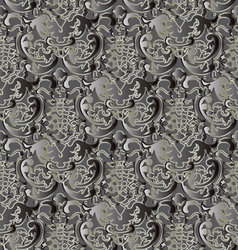 Baroque vintage antique gray seamless pattern vector