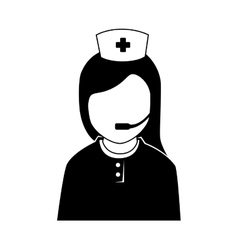silhouette icon staff medical service isolated vector image
