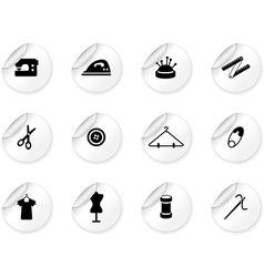 Stickers with sewing symbols vector image