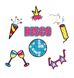 Disco club party stickers set patch symbols vector