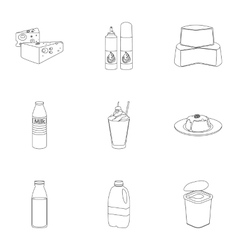 Milk product and sweet set icons in outline style vector