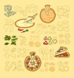 pizza icon set of cute various pizza ingredient vector image