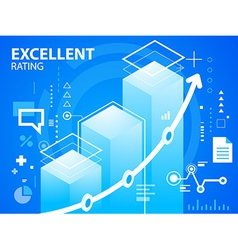 Bright excellent rating on blue background f vector