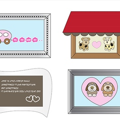 Cute cartoon frames about love1 01 vector