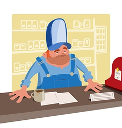 Sullen cashier behind the desk vector