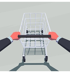 Male hands pushing empty shopping cart vector