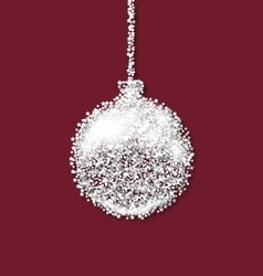 Christmas ball on red backdrop made from white vector