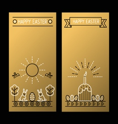 Happy easter golden banners with a linear drawing vector
