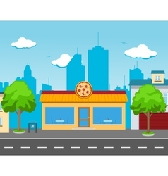 Pizza cafe in the street vector