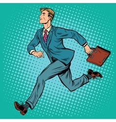 Businessman running man vector
