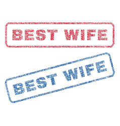 best wife textile stamps vector image vector image