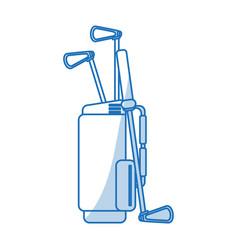 Blue shading silhouette cartoon bag with golf vector