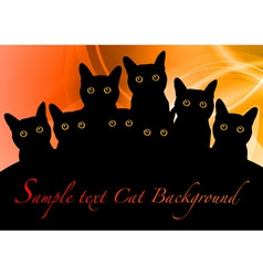 cat black background orange vector image