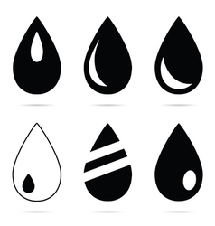 Drop set in black and white color vector
