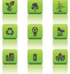 eco icons green buttons vector image vector image
