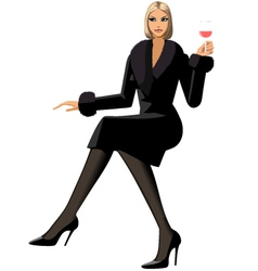 elegant woman with glass of wine vector image vector image