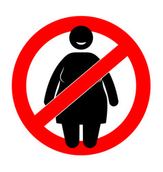 fat woman with restriction sign overweight woman vector image